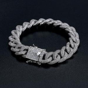 Cuba Bracelet Best Quality Hip-Hop Bracelet Full Diamond Bracelet Micro Cubic Zirconia Men Jewelry Copper Plating18k Gold Fashion S0502