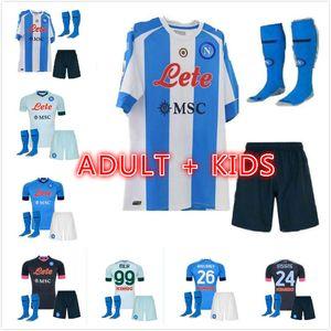 Yetişkin Çocuk Kiti 20 21 SSC Napoli Futbol Formaları Lozano Osimhen Insigne Futbol Gömlek Maglia Mertens Verdi Milik Napoli 2020 Maillots de Foot