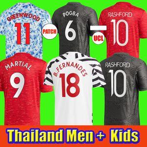 2020 2021 Maillots de football Manchester United UTD RASHFORD B.FERNANDES CAVANI GREENWOOD VAN DE BEEK JAMES Maillots de football HOMMES + enfants kit équipement