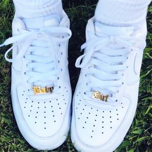 فريد مخصص اسم الحذاء مشبك شخصية مجوهرات الفولاذ المقاوم للصدأ لوحة رباط الحذاء buckie الذهب سحر الأزياء بيجو