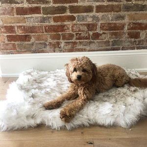Faux Fur Dog Mat Curve White Winter Soft Warm Cozy Pet Cushion for Medium Large Dogs Cats - Durable & Luxurious Throws Blanket 201223