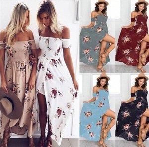 10pcs femmes Boho robe longue Floral Vintage Beach Party Soirée Bandeau Sundress Off robe de plage épaule M176 f76I #