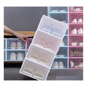 Thicken Clear Plastic Shoe Boxes Dustproof Shoe Storage Box Transparent Shoe Boxes Candy Color Stackable Sh qylWMD five2010