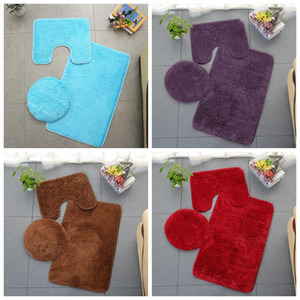 Non-Slip Bathroom Bath Mat Set Toilet Rugs Plush Anti Slip Shower Carpets Set Home Toilet Lid Shower Room Floor Mats 11Colors SEA GWC5087