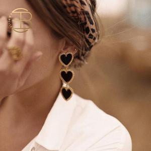 2019 تصميم جديد ثلاثة القلب سلسلة طويلة استرخى أقراط للنساء الأحمر أسود أبيض القلب بيان القرط الذهب مينا القرط