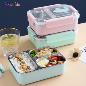 Cartoons Portable Independent Lattice Leakproof Lunch Box Stainless Steel Bento Box For Kids School Children Food Container 201015