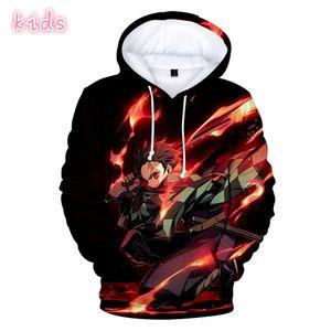 Hot anime Demon Slayer: Kimetsu no Yaiba 3D print Hoodies in boys girls Sweatshirts long sleeve autumn winter warm youth Clothes 201021