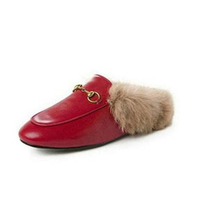 Mules Princetown Women Fur Slippers Mules with fur Flats Genuine Leather Designer Fashion Metal Chain Ladies Casual shoes xw18