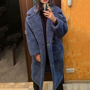 Real Fur длинные пальто Зимняя куртка женщины 100% шерсти Содержание Ткань Толстые Теплое Сыпучие Верхняя одежда Негабаритные Streetwear Тедди Cozy