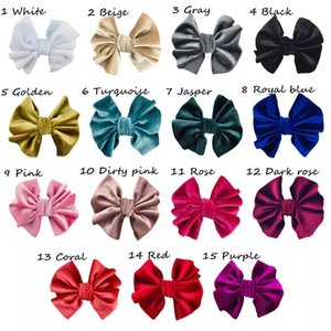 15 Colors 4inch Baby Kids Girls Headband Bowknot Hair Clip Solid Hairband Velvet Ponytail Rope Headdress Hair Accessories