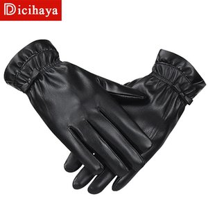 DICIHAYA Winter New PU-Leder Frauen Handschuhe Mode Knopf-Dekoration warme weiche Hochwertige Buckskin Damen Handschuhe aus Schafsfell