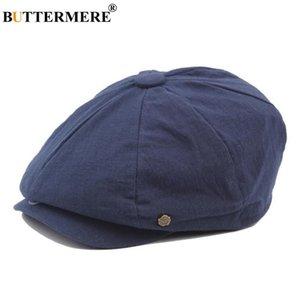 Sboy Hats BUTTERMERE Cotton Cap Men Women Octagonal Hat Navy Solid Spring Vintage Spaper Caps 2021 Korean Painters Beret