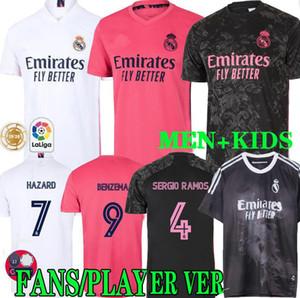 كيت 20 21 ريال مدريد لكرة القدم بالقميص Humanrace BENZEMA أخطار SERGIO RAMOS ISCO القمصان camiseta كرة القدم زي الرجال الاطفال PLAYER VERSION
