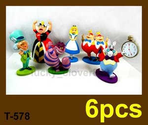 6 PCS set Cartoon Movie Alice in Wonderland Action Figures mini figurines doll miniature model Kids Gift Toy Cake Topper Decoration