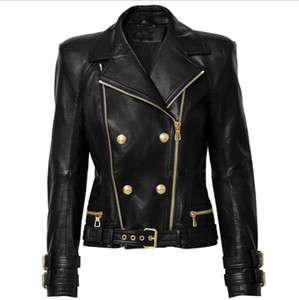 Top Quality Brand New with Label Original Design Women's Leather Jacket Metal Buckles Double-Breasted Double Zippers Black Motorcycle Jacket