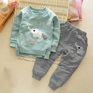 high quality 2020 New Baby Spring and Autumn Long-sleeved Suit Children's Animal little elephant Old Boys Cotton Sets Children's C