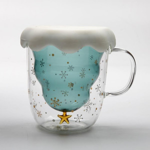 Creative 3D Transparent Double Anti-Scalding Glass Christmas Tree Star CupMilk Juice Cup Coffee Cup Children's Christmas Gift