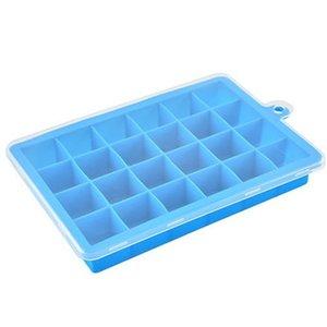 الغذاء الصف سيليكون قوالب 24 lattices آيس كيوب العفن مع غطاء واضح الآيس كريم أدوات الأزرق الأخضر اللون 7JS E1