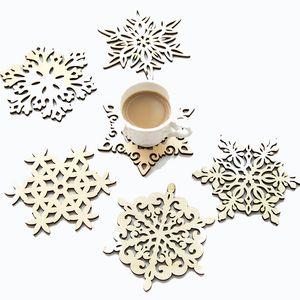 Plato de los copos de nieve de madera Dinner Party Decoraciones de la Navidad Mat Copa Bandeja Cojín para la decoración casera 6 Estilo KKF2278