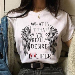 WviOce Alta calidad Modal Modal Manga corta Flojo Mujer Camiseta Harajuku 90s Devil Lucifer Impreso Femenino Ropa blanca