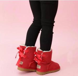 2021 Дети Бейли 2 луки Сапоги из натуральной кожи малышей Snow Boots Solid Botas De Ниив зимних девочек Обувь для девочек малышей Boots