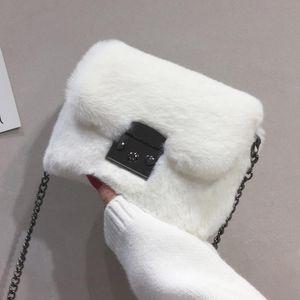 Faux Fur Bag Mulheres 2021 Cadeia Crossbody Bag Ombro Bolsa bolsa mini marca designer bolsas moda inverno novo
