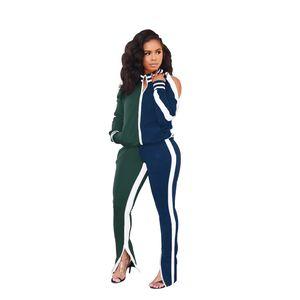 Hot Women Winter Chaqueta de invierno Popular Contraste Color Fuera de hombro Sports Traje 2020 Trajes de dos piezas Otoño y ropa recomienda