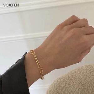 VOJEFEN Dainty Everyday Feine Armband, AU750 18K nette Papierklammer Charm Handgefertigte Goldarmband für womenmen