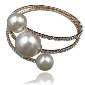 IMIXLOT Big Simulated Pearls Bangle For Women Bridal Wedding Rhinestone Multilayer Bracelet & Bangle Fashion Jewelry1