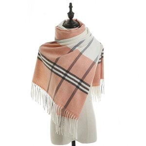 2020 autumn and winter new imitation cashmere scarf ladies scarf knitted fringed British fashion plaid thick warm shawl