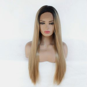Export chemical fiber before lace wig Europe and the United States hot selling long straight hair head set black gradient gold