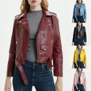 2020 New Fashion Women Autunm Winter Black Blue Fake Faux Leather Jackets Lady PU Zipper Pocket Motorcycle Outerwear Coat Belt