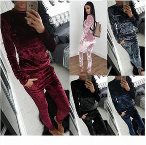 Velvet Tracksuit Two Piece Set Women Sexy Pink Long Sleeve Top And Pants Bodysuit Suit Runway Fashion 2017 Trainingspak plus size 3XL