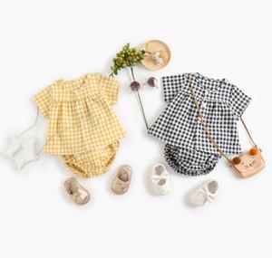 INS New Baby kids Clothing Two Piece Sets Short Sleeve plaid Shirt + Short Boy Girl Summer Lolita Summer Clothing Sets