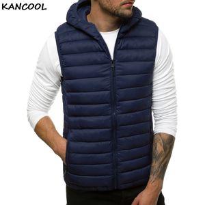 Kancool 2020 túnica sem mangas Inverno Quente Casual Jacket algodão com capuz Vest Sólidos por Homens