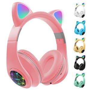 M2 Cat Ear Luminous Head-mounted Headphones Earphone Wireless Bluetooth Headset With Mic Hands-free Child Children's Gifts