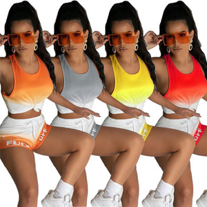 زائد الحجم 2xl النساء يتسابق الصيف عداء ببطء البدلة اليوغا الدعاوى قطعتين مجموعة التدرج رياضية تانك أعلى سترة + السراويل عارضة الرياضية 4398