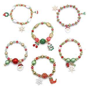 hot 40pcs Christmas Bracelet Santa Claus Snowman Bracelet candy Beads Bracelet children's party gifts 6 style T500457