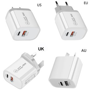 18W Fast USB Charger Quick Charge Type C PD Fast Charging For iPhone EU US UK AU Plug USB Charger With QC 4.0 3.0 Phone Charger with box