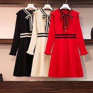 우아한 긴 소매 러프 니트 드레스 여성 활 칼라 스트라이프 A 라인 드레스 여성 가을 겨울 짧은 스웨터 드레스 201109