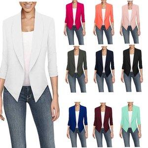 2020 nouveau printemps et l'été à manches longues cardigan couleur unie ourlet irrégulier petit costume pour les femmes