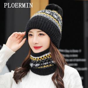 PLOERMIN 겨울 모자 여성 비니 두꺼운 따뜻한 Skullies 니트 모자 리플 보닛 Femmes 야외 승마 모자 스카프 세트