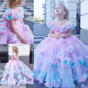 New Colorful 2021 Flower Girl Dresses Ball Gown Tulle Little Girl Wedding Dresses Fashion First Holy Communion Pageant Party Gowns AL7301