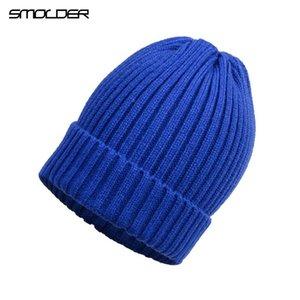 [Smolder] جديد وصول محبوك قبعة الاكريليك قبعة قبعة للجنسين اللون الصلب الحفاظ على القبعات الشتوية مرنة دافئة