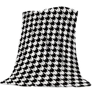 Classic Houndstooth Pattern Throw Blanket Soft Fleece Blankets Warm Sofa Bed Sheets