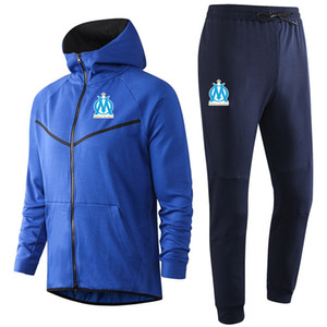 2020 2021 Marseille soccer Hoodie Sweatshirt Tracksuit Sets winter mens casual sports hooded training sportswear suit Jacket Running Sets
