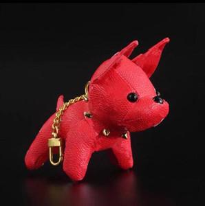 2021 디자이너 만화 동물 작은 개 크리 에이 티브 키 체인 키 반지 PU 가죽 편지 패턴 자동차 핸드백 키 체인 선물 액세서리 없음