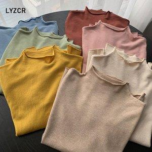 LYZCR Autunno Inverno Slim maglione dolcevita donne 2020 New Basic che basa maglia donne lavorato a maglia Cotone Pullover Femme Jumper