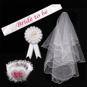 FENGRISE Hen Decor Bride To Be Sash Badge Sexy Garter White Veil Bridal Shower Bachelorette Wedding Party Supplies