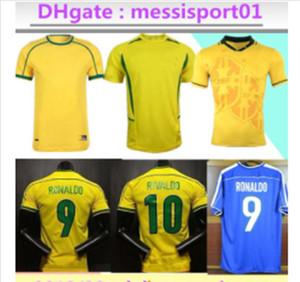 الرجعية الفانيلة Brasil Soccer 1994 1998 2002 Rivaldo / R. Carlos Brasil Football Jerseys قميص